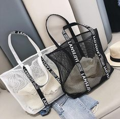 Retro, Shell, Net Bag, Clear Bags, Simple Style, South Korea, Black And White, Cord, Cable