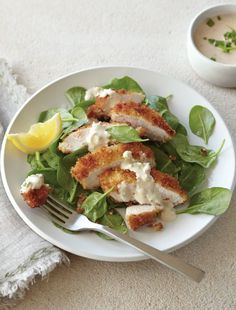 Breaded Chicken with Lemon-Green Onion Tahini | Williams Sonoma Taste