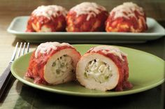 Mozzarella Chicken Roll-Ups    2 oz.(1/4 of 8-oz. pkg.) PHILADELPHIA Neufchatel Cheese, softened  1/4 cupfinely chopped green peppers  1/2 tsp. dried oregano leaves  1/4 tsp. garlic salt  1 cup KRAFT 2% Milk Shredded Mozzarella Cheese, divided  4 small boneless skinless chicken breast halves (1 lb.), pounded to 1/4-inch thickness  1 cup spaghetti sauce