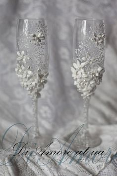 Wedding glasses from the collection Art Flowers white by DiAmoreDS, $59.00