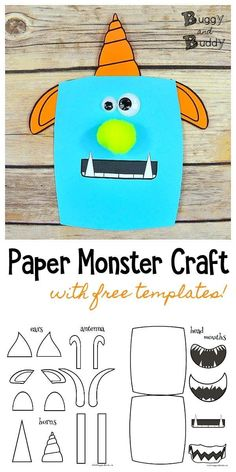 Easy Paper Monster Craft for Kids: Use our free monster PDF printable templates to create all kinds of unique monsters. Children can mix and match the monster pieces to create all kinds of funny and cute monsters. Use them as a writing prompt or for Halloween decorations! #monsters #monstercraft #freeprintables #craftsforkids