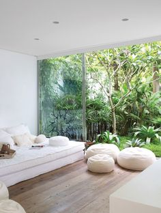 Cozy, clean looking space. The trees in the background gives a earthy feeling. The tree background makes the house feel spacious.
