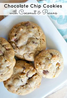 Chocolate Chip Cookies with Milk chocolate, dark chocolate, Coconut and Pecans!