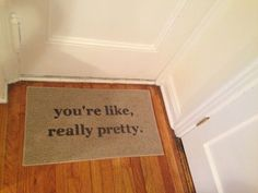 My welcome mat, one of my first purchases for the new apartment.