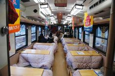 """Sanriku Railway Co., which operates two lines along the beautiful Sanriku coast of Iwate Prefecture, Japan, is offering passengers the ultimate Japanese winter relaxation experience with their """"Kotatsu Train"""" (Kotatsu Ressha), a special two-car train equipped with 12 kotatsu so you can enjoy the scenery pass by from the comfort of your own (simulated) living room."""