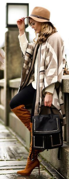 Styled! *Black leggings + Zara cape + white sweater + tall boots + // Curating Fashion & Style: Fall