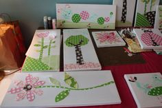 use scrapbook paper to make pretty wall art for a kids room
