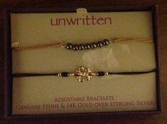 Unwritten~Gold Sterling Silver~Fleur Lis Bead~Adjustable Friendship Bracelet Set #Unwritten #Friendship