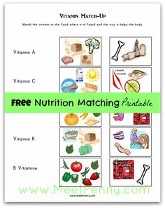 FREE Vitamin Matching printable - Match the vitamin to the foods and body part it helps. MeetPenny.com