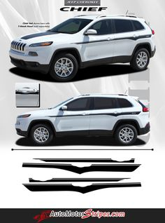 Vehicle Specific Style Jeep Cherokee Chief Mid Body Line Accent Vinyl Graphic Stripe Decals Year Fitment 2014 2015 2016 Contents Driver and Passenger Side Vinyl