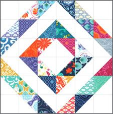 "TBT Here's a great block from Kate Spain using one of her older lines Cuzco, but Horizon would look just as good. Click on link for the block instructions using 2.5"" squares. Moda mini charms. @modafabrics"