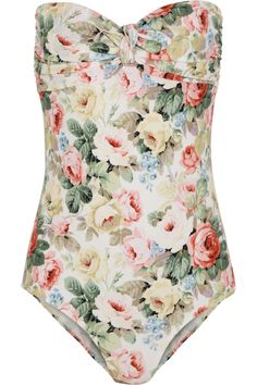 Miu Miu|Rose-print bandeau swimsuit|NET-A-PORTER.COM