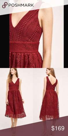 ⚡️Last chance⚡️Anthropologie HD in Paris Narrante NWT. Size XS but fit like a small so I will choose size small option. I'm regular size 4 in anthropologie dresses and this fit me. The dress is gorgeous!!!!Deep dark red and gorgeous high quality lace. Price is firm unless bundle. Anthropologie Dresses Midi