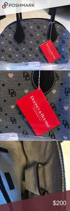Dooney & Bourke domed satchel NWT Embroidered signature DB and pink hearts. Brand new. Pet and smoke free home. Dooney & Bourke Bags Satchels