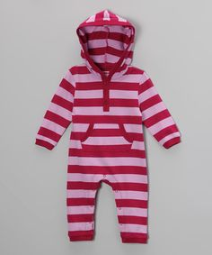 Look what I found on #zulily! Maroon & Pink Stripe Hooded Playsuit - Infant by Leveret #zulilyfinds