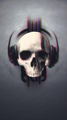 Skull, glitch art, minimal, headphone, music, 720x1280 wallpaper