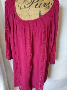 TORRID Plus Size 4  4X TUNIC Top Shirt CROCHET TRIM Blouse LONG Boho CRINKLE  #Torrid #Tunic