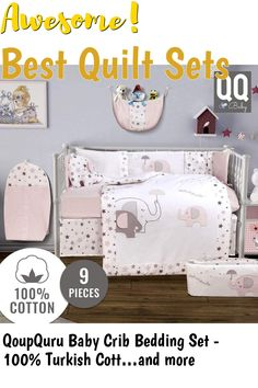 QoupQuru Baby Crib Bedding Set - 100% Turkish Cotton - 9 Piece Nursery Crib Bedding Sets for Boys and Girls - Elephant Design - 4 Color Variations by QQ Baby (Pink and Gray) #quiltsets