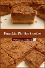Pumpkin Pie Bar Cookies: ingredients, directions, and special baking tips from The Elf to make this easy bar cookie recipe. Cake Mix Cookie Recipes, Chocolate Cookie Recipes, Cake Mix Cookies, Chocolate Chip Cookies, Cupcakes, Pumpkin Pie Bars, Pumpkin Butter, Pumpkin Spice, Easy No Bake Cookies