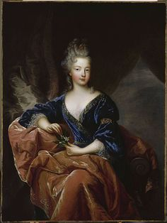 Francoise Marie of Orleans (by Francois de Troy), Légitimée de France (1677-1749) was the youngest legitimised daughter of Louis XIV of France and his maîtresse-en-titre, Françoise-Athénaïs, marquise de Montespan.  She married her first cousin Philippe d'Orléans in 1692 at the age of fourteen and bore eight children, four of which would have further progeny.