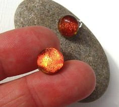 Copper Dichroic Glass Stud Earrings  Fused Glass by TremoughGlass, $15.00