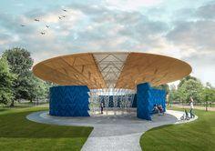 Image 2 of 3 from gallery of Francis Kéré to Design 2017 Serpentine Pavilion. Serpentine Pavilion 2017, Designed by Francis Kéré, Design Render, Exterior. Image © Kéré Architecture