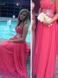 Prom Dresses, Simple A-Line Sweetheart Floor Length Red Rushed Prom/Evening Dress With Beading
