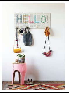 Frankie magazine issue 50 hello on peg board