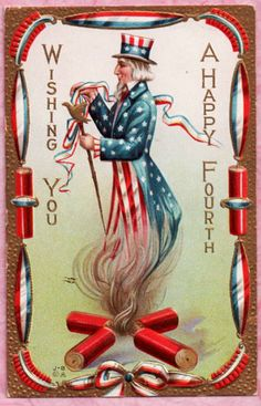 FOURTH OF JULY PATRIOTIC UNCLE SAM FIRECRACKERS GOLD EMBEL. EYE-CATCHING DETAIL! #FourthofJuly