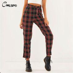 01e55e7abf Cheap CWLSP otoño algodón recto hasta el tobillo pantalones con cremallera  Casual Plaid pantalones de cintura