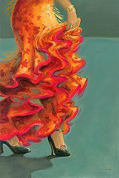Flamenco Fiesta II  Art Print  by Karen Dupré
