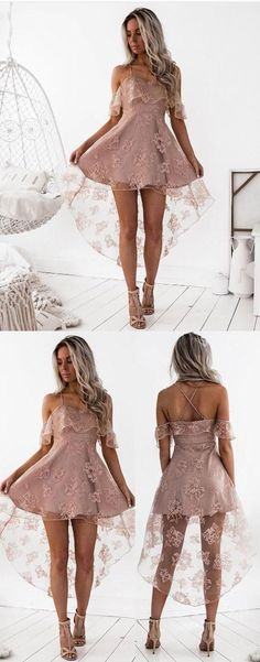 High Fashion A-Line Lace Off-Shoulder High Low Short Homecoming Dress #prom #dresses #shortpromdress #promdress #eveningdress #promdresses #partydresses #2018promdresses #homecominglacepromdresses