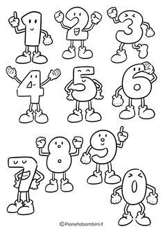Numeri da Stampare, Colorare e Ritagliare per Bambini | PianetaBambini.it Kids Board, Class Of 2020, Letter Art, Drawing For Kids, Baby Pictures, Activities For Kids, Alphabet, Techno, Scrapbook