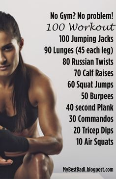 No Gym? No Problem! The Best Workout For Weight Loss And Muscle Building Reto Fitness, Fitness Tips, Fitness Motivation, Health Fitness, Fitness Challenges, 100 Workout, Workout Guide, Workout Plans, Muscular
