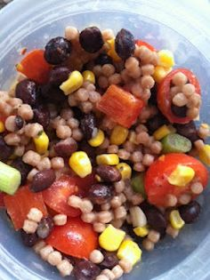 The Lighter Side: Couscous Salad with Summer Veggies - The Rescue Baker Lunches And Dinners, Meals, Oven Roasted Tomatoes, Dinner This Week, Veggie Stir Fry, Couscous Salad, Lighter, Healthy Eating, Vegetarian