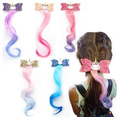 Unicorn Glitter Hair Bows Princess Dress Up Braided Curly Wig Hair Extension for Kids Costume Hair Accessories (AE unicorn wig 5PCS)