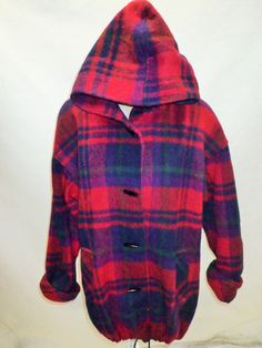 80's Womens Vintage BRAETAN - Winter Warm Coat - Recycled Wool - Size Large - Hooded Jacket - Purple Red Plaid Checkered by DOINGITSOBER on Etsy