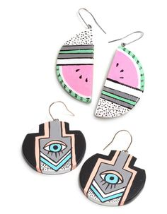 'Darling' handpainted earrings by Jessie Willow Tucker forEdition X.