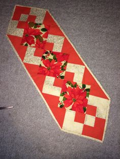 Holiday table runner using Simply a Pleasure pattern.