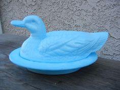 Blue milk glass duck dish