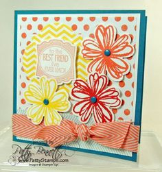 www.PattyStamps.com - Flower Shop and Label Love 4x4 card with cheery paper from I AM ME and some Chevron Ribbon... don't forget the Candy Dots!