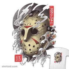 """""""Oni Jason Mask"""" aka """"Oni 13 Mask"""" by Vincent Trinidad Inspired by Jason Voorhees from Friday the Japanese Demon Mask, Japanese Mask Tattoo, Japanese Oni, Oni Mask Tattoo, Hanya Tattoo, Arte Horror, Horror Art, Voodoo Doll Tattoo, Desenho New School"""