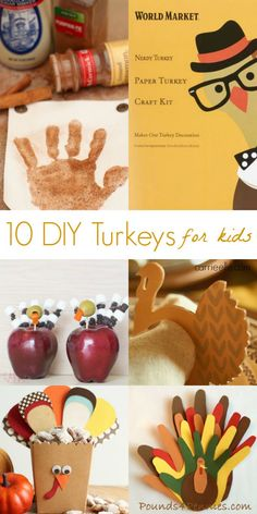 These DIY Turkey Crafts for Kids are all so cute (and the coloring pages are adorable! Craft Projects For Kids, Easy Crafts For Kids, Craft Activities For Kids, Craft Work, Learning Activities, Thanksgiving Art Projects, Kids Thanksgiving, Fun Halloween Crafts, Fall Crafts