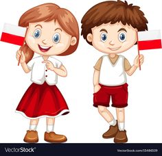 Happy boy and girl holding flag of poland Vector Image Poland Flag, Human Drawing, Cartoon Boy, Happy Boy, Art N Craft, Teaching Kindergarten, Children, Kids, Boy Or Girl