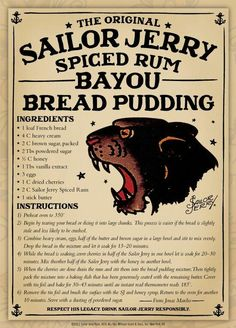 Bayou Bread Pudding - hands down the best spiced rum. Can't be bad in bread pudding either. Rum Recipes, Pudding Recipes, Sweet Recipes, Cooking Recipes, Margarita Recipes, Bread Recipes, Sailor Jerry Rum, Best Spiced Rum, Just Desserts