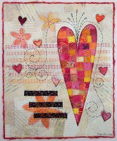 valentine heart art quilt