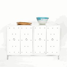 White lacquer studded buffet.
