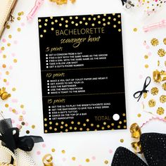 'Scavenger hunt' game is the perfect ice breaker for bachelorette party and a fantastic way to get the special night off to a great start! Scavenger Hunt Games, Photo Scavenger Hunt, Gold Drinks, Pink October, From Miss To Mrs, Bachelorette Party Games, Glitter Confetti, Ice Breakers, Couple Shower