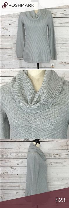 """Style & Co Cowl Neck Long Sleeve Gray Sweater New Gorgeous gray, long sleeve sweater with silver metallic accent threads and a cowl neck.  New with tags. Bust: 34 1/2""""; Length in the back from the shoulder: 27"""". Measurements are approximate. Smoke free home. 🌺Thanks for shopping my closet !😊🌺 Style & Co Sweaters Cowl & Turtlenecks"""
