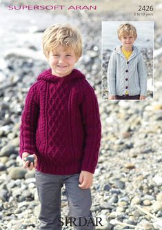Sirdar - 2426 - Boys' Sweater and Cardigan with Hoods (ages 2 - 13)